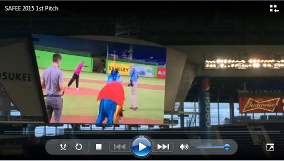 DIRECTOR ROBERTS THROWING THE FIRST PITCH AT MARLINS AVIATION DAY 2015